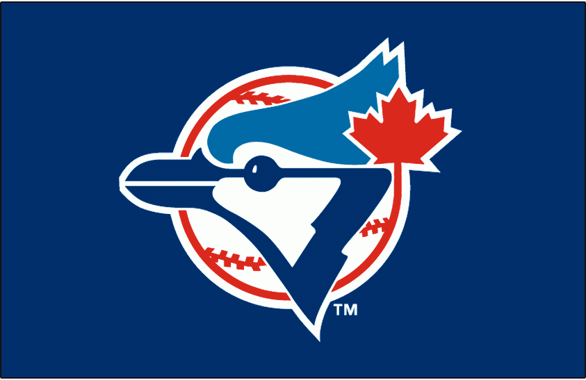 Toronto Blue Jays Logo Cap Logo (1989-1996) - A Blue Jay head on a red and white baseball with a red maple leaf on blue SportsLogos.Net