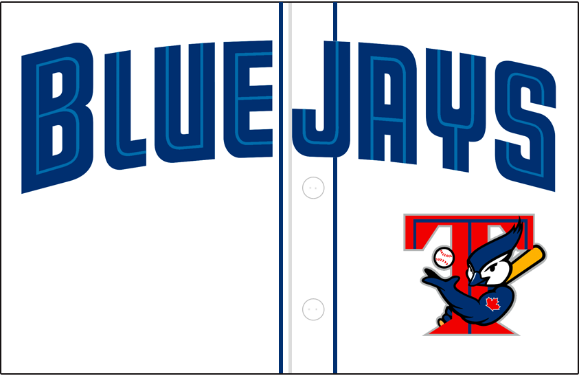 Toronto Blue Jays Logo Jersey Logo (2001-2002) - (Alternate) Blue Jays in blue with a thin teal inline above T-jay logo on white SportsLogos.Net