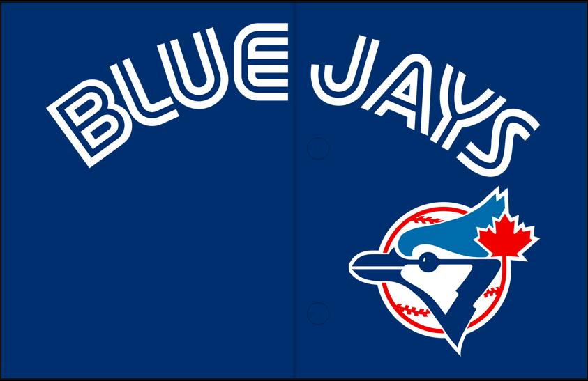 Toronto Blue Jays Logo Jersey Logo (1994-1996) - (Alternate) Blue Jays in white with a thin blue inline above primary logo on blue SportsLogos.Net