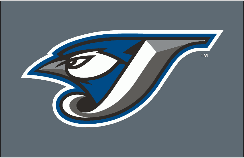 Toronto Blue Jays Logo Cap Logo (2004-2005) - A Blue Jay head inside a J in white with silver and graphite beveling and black, blue and white outlines on graphite SportsLogos.Net