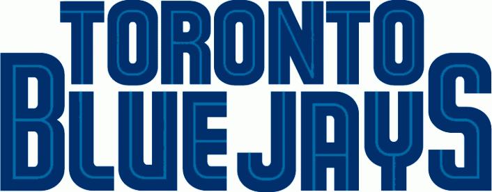 Toronto Blue Jays Logo Wordmark Logo (1997-2003) - Toronto above Blue Jays in blue with a thin teal inline SportsLogos.Net