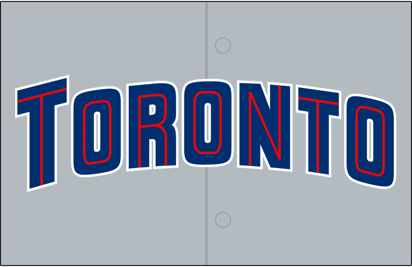 Toronto Blue Jays Logo Jersey Logo (1997-2000) - Toronto arched in blue with a thin red inline and a white outline on grey, worn on the Blue Jays road jerseys from 1997 to 2000. Blue piping was added in 2001 SportsLogos.Net