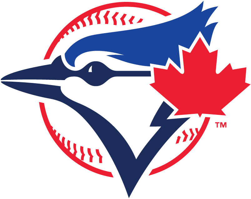 Toronto Blue Jays Logo Alternate Logo (2012-2019) - Blue jay head in two shades of blue with large red maple leaf to the right on a baseball SportsLogos.Net