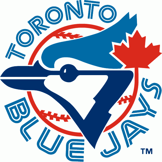 Toronto Blue Jays Logo Primary Logo (1977-1996) - A Blue Jay head with a maple leaf on a baseball surrounded by team name. SportsLogos.Net