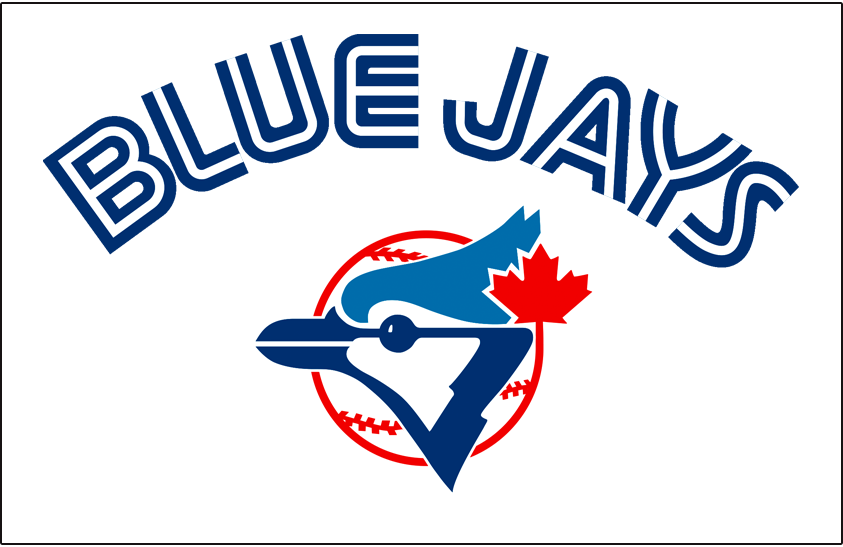 Toronto Blue Jays Logo Jersey Logo (1977-1988) - (Home) Blue Jays in blue with a thin white inline above primary logo on white SportsLogos.Net