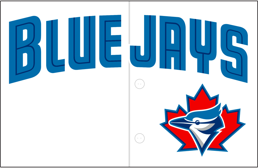 Toronto Blue Jays Logo Jersey Logo (1999-2000) - (Alternate) Blue Jays arched in teal with a thin blue inline above primary logo on white SportsLogos.Net
