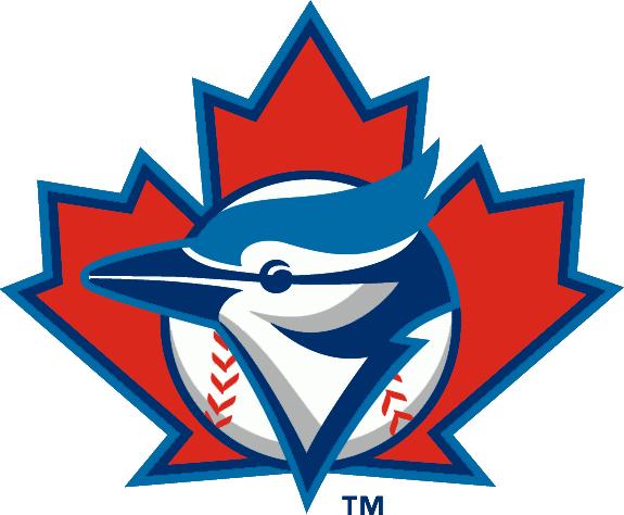 Toronto Blue Jays Logo Alternate Logo (1997-2002) - A Blue Jay head on a baseball over a maple leaf SportsLogos.Net