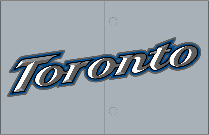 Toronto Blue Jays Logo Jersey Logo (2004-2007) - (Road) Toronto slanted up in white with silver and graphite beveling and black, blue and graphite outlines on grey SportsLogos.Net