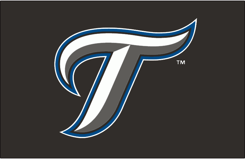 Toronto Blue Jays Logo Cap Logo (2007-2011) - A stylized T in white with graphite beveling and black, blue and white outlines on black SportsLogos.Net