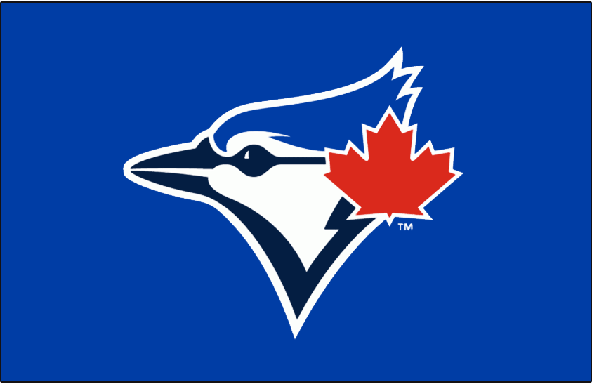 Toronto Blue Jays Logo Cap Logo (2012-2019) - Blue jay head in two shades of blue with large red maple leaf to the right on navy blue SportsLogos.Net