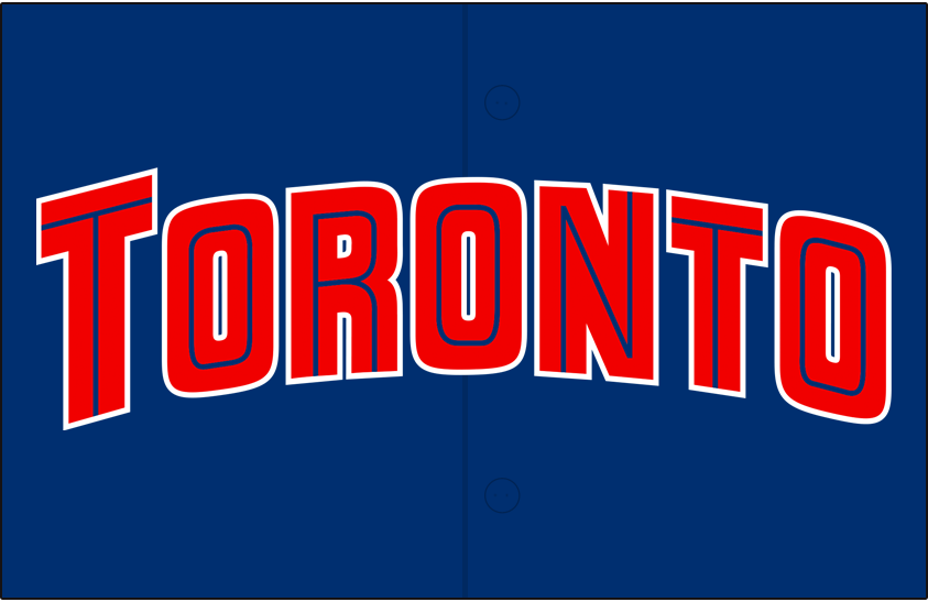 Toronto Blue Jays Logo Jersey Logo (1997-2000) - Toronto arched in red with a thin blue inline and a white outline on blue, worn on Blue Jays alternate blue jerseys from 1997-2000. Red piping added in 2001 SportsLogos.Net