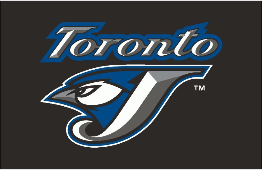 Toronto Blue Jays Logo Batting Practice Logo (2004-2007) - (BP) Toronto script above J/jay logo on black SportsLogos.Net