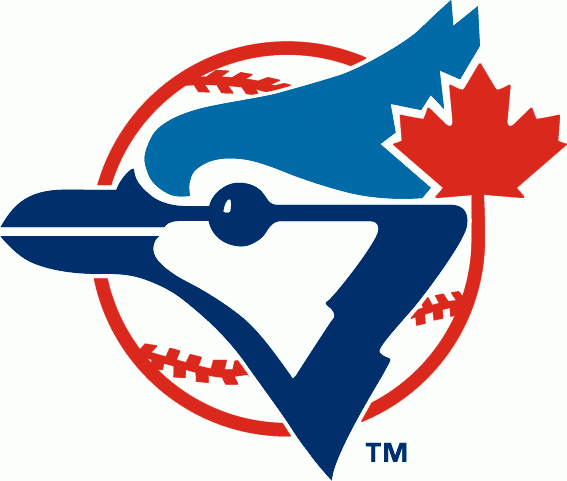 Toronto Blue Jays Logo Alternate Logo (1977-1996) - A Blue Jay head on a red and white baseball with a red maple leaf SportsLogos.Net