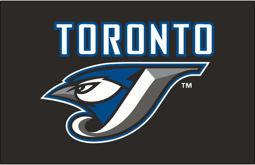 Toronto Blue Jays Logo Batting Practice Logo (2008-2011) - (BP) Toronto in white with a blue outline above J/Jay logo on black SportsLogos.Net