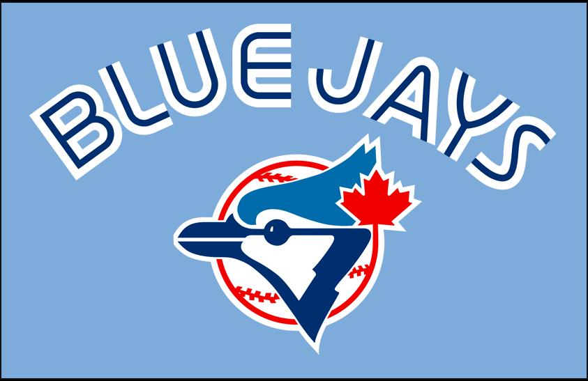 Toronto Blue Jays Logo Jersey Logo (2008-2010) - (Retro Alternate) Blue Jays in white with a thin blue inline above primary logo on powder blue SportsLogos.Net