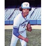 Toronto Blue Jays (1977) Jesse Jefferson poses for his 1978 Topps trading card wearing the Toronto Blue Jays road uniform during the 1977 season