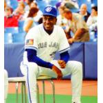 Toronto Blue Jays (1994) Juan Guzman of the Toronto Blue Jays poses for fans in the Blue Jays home uniform with MLB 125th Anniversary patch in 1994