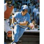 Toronto Blue Jays (1978) Roy Howell heads to first after getting a hit as seen on his 1979 Topps baseball card, wearing the Toronto Blue Jays road uniform in 1978