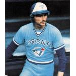 Toronto Blue Jays (1978) Alan Ashby in the dugout as seen on his 1979 Topps baseball card, wearing the Toronto Blue Jays road uniform in 1978