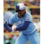 Toronto Blue Jays (1986) Cliff Johnson at the plate for the Toronto Blue Jays in this photo from his 1987 Donruss card, wearing the Blue Jays road uniform with 10th Season patch on sleeve in 1986