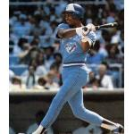 Toronto Blue Jays (1982) Willie Upshaw of the Toronto Blue Jays swings at a pitch on the front of his 1983 Fleer card wearing the Blue Jays road uniform in 1982