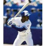 Toronto Blue Jays (1991) Devon White of the Toronto Blue Jays at the plate on the front of his 1992 Fire Safety card wearing the Blue Jays home uniform with 1991 MLB All-Star Game patch in 1991