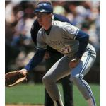 Toronto Blue Jays (1991) John Olerud wearing the Toronto Blue Jays road uniform with 1991 MLB All-Star Game patch on sleeve during the 1991 season