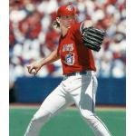 Toronto Blue Jays (1996) Pat Hentgen pitches while wearing special red Canada Day Toronto Blue Jays uniform in 1996
