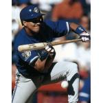 Toronto Blue Jays (1996) Tilson Brito wearing the Toronto Blue Jays alternate uniform on the road with Blue Jays 20th anniversary patch in 1996