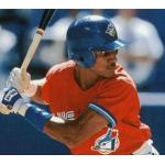 Toronto Blue Jays (1996) Otis Nixon at the plate wearing the Toronto Blue Jays special red Canada Day uniforms in 1996