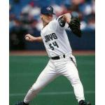 Toronto Blue Jays (1997) Woody Williams throws a pitch wearing the Toronto Blue Jays home uniform in 1997