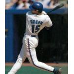 Toronto Blue Jays (1998) Shawn Green at the plate wearing the Toronto Blue Jays home uniform in 1998