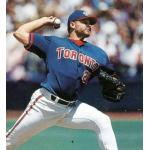 Toronto Blue Jays (1998) Roger Clemens throws a pitch wearing the Toronto Blue Jays alternate uniform at home in 1998