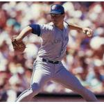 Toronto Blue Jays (1989) Jimmy Key throws a pitch wearing the Toronto Blue Jays road uniform in 1989