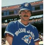 Toronto Blue Jays (1989) Mike Flanagan poses for a trading card photo while wearing the Toronto Blue Jays batting practice uniform in 1989