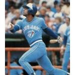Toronto Blue Jays (1983) Damaso Garcia heads for first wearing the Toronto Blue Jays road uniform in 1983