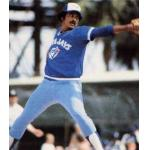 Toronto Blue Jays (1982) Luis Leal throws a pitch wearing the Toronto Blue Jays batting practice uniform with road pants during Spring Training 1982