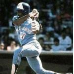 Toronto Blue Jays (1985) George Bell takes a swing at a pitch while wearing the Toronto Blue Jays road uniform in 1985