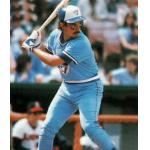Toronto Blue Jays (1984) Buck Martinez at the plate wearing the Toronto Blue Jays road uniform in 1984