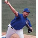 Toronto Blue Jays (1997) Roger Clemens pitching while wearing the Toronto Blue Jays batting practice uniforms (with 1996 style pants) during Spring Training in 1997