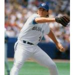 Toronto Blue Jays (1995) Al Leiter throws a pitch wearing the Toronto Blue Jays home uniform in 1995