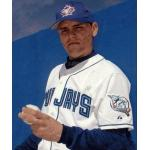 Toronto Blue Jays (2001) Gustavo Chacin poses in his Toronto Blue Jays home uniform with Blue Jays 25th anniversary patch on the sleeve