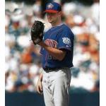 Toronto Blue Jays (2001) Brandon Lyon on the mound wearing the Toronto Blue Jays alternate uniform with Blue Jays 25th anniversary patch on sleeve in 2001