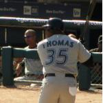 Toronto Blue Jays (2007) Frank Thomas at the plate for the Toronto Blue Jays wearing their road uniform in 2007