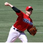 Toronto Blue Jays (2009) Jason Frasor throws a pitch wearing the special Toronto Blue Jays red Canada Day uniforms in 2009