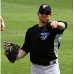 Toronto Blue Jays (2009) Adam Lind wearing the Toronto Blue Jays road batting practice uniform at Spring Training 2009