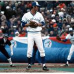 Toronto Blue Jays (1977) Bill Singer on the mound wearing the Toronto Blue Jays home uniform in their first ever game in franchise history - April 7, 1977