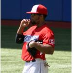 Toronto Blue Jays (2011) Eric Thames wearing the Toronto Blue Jays red Canada Day uniform in 2011