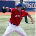 Toronto Blue Jays (2012) Aaron Laffey on the mound wearing the Toronto Blue Jays special red Canada Day uniform in 2012
