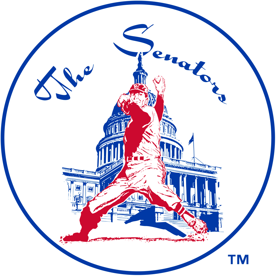 Washington Senators Logo Primary Logo (1961-1971) - A pitcher pitching in front of Capitol Building SportsLogos.Net